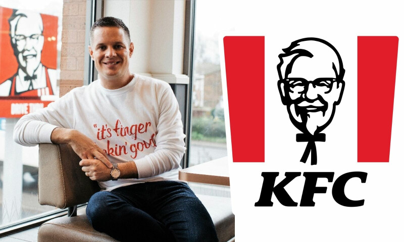 KFC Logo and image of Neil Piper, white male sitting down smiling at the camera