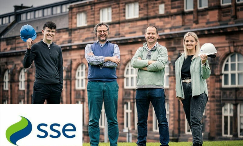 (From left to right): New MSc student Kenneth MacSween celebrates his scholarship with Dr David McMillan, University of Strathclyde, Andy Lewin, SSE Renewables, and fellow awardee Skye Francis