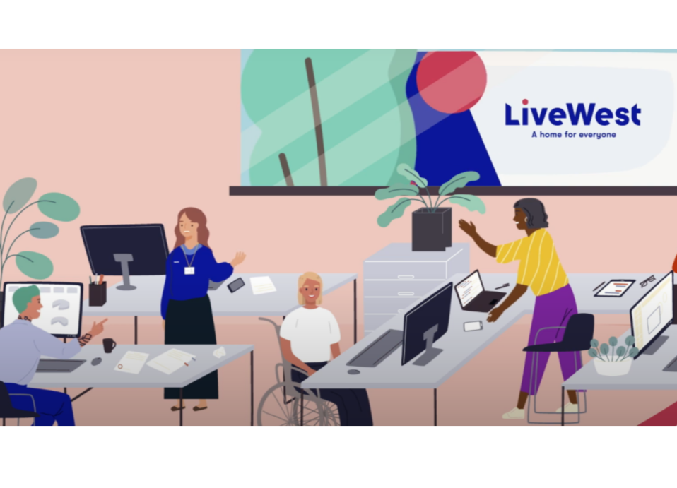 Illustration of a diverse office - LiveWest