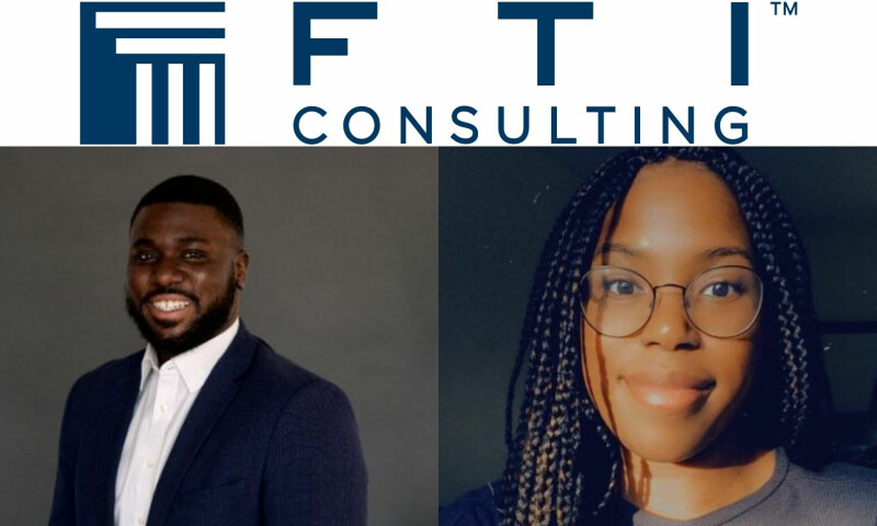 FTI Consulting Logo and head and shoulders image of a black male and a black female