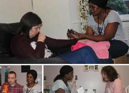 Three images of Prisca helping people who have autism