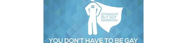Man in a cape with words straight but not narrow written on the cape and You don't have to be gay to fight homophobia written underneath. #MAY17BECAUSE written in top left hand corner and the IDAHOBIT logo below the image