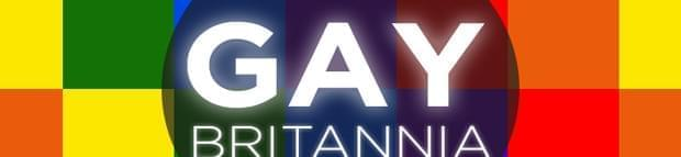Image of the words Gay Britannia on a multicolored checkered background