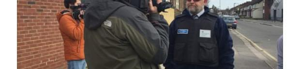 Image of Andy Rice being interviewed for camera