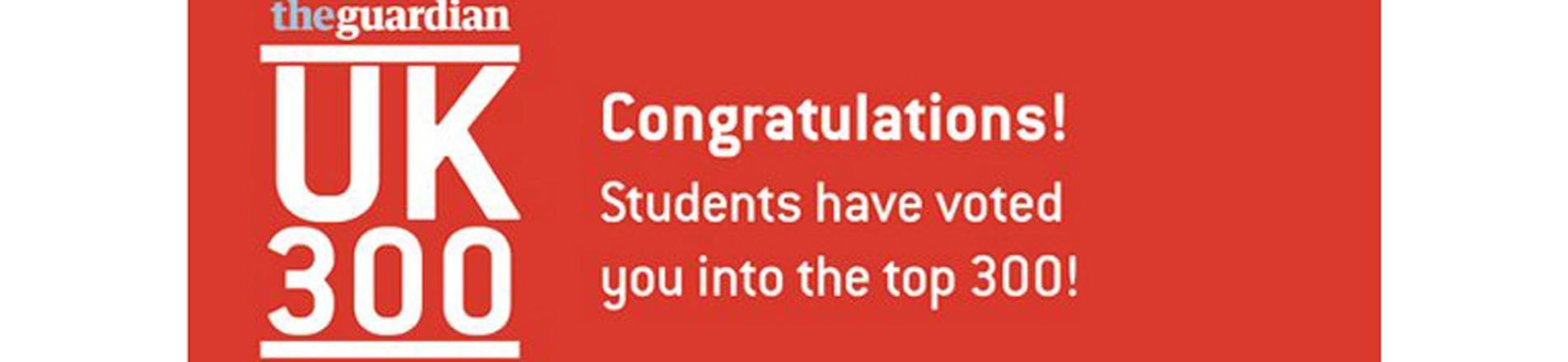 the guardian UK 300 Graduate Employers Logo including the text ' Congratulations! Students have voted you in the top 300!'