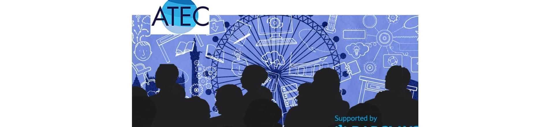 Silhouettes of people in front of the London Eye with Barclays logo in the bottom right hand corner and ATEC logo in the top left
