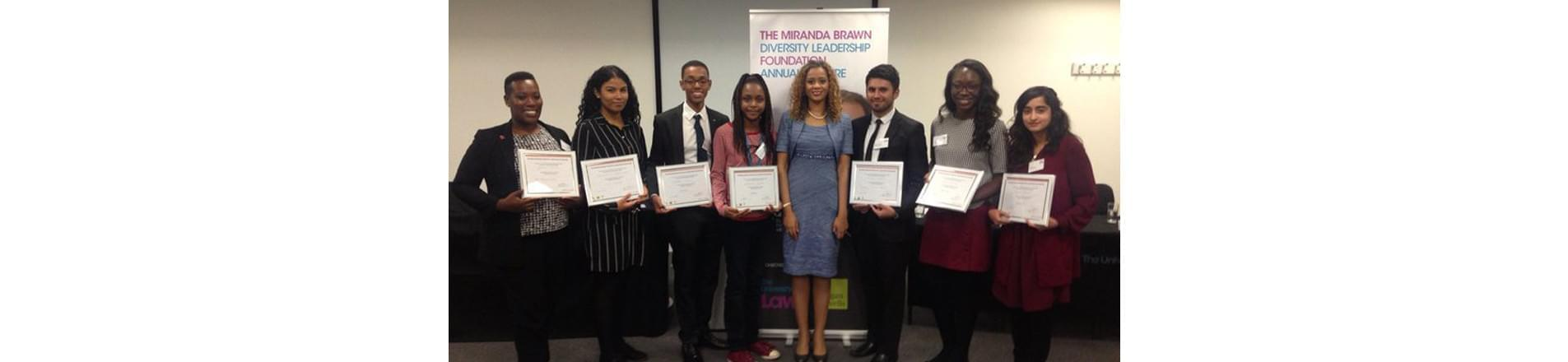 the 2016 winners of the Miranda Brawn scholarship standing in a line