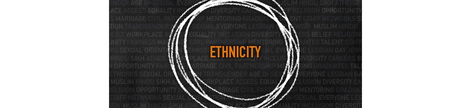 the word 'ethnicity' on a background of words about diversity and inclusion
