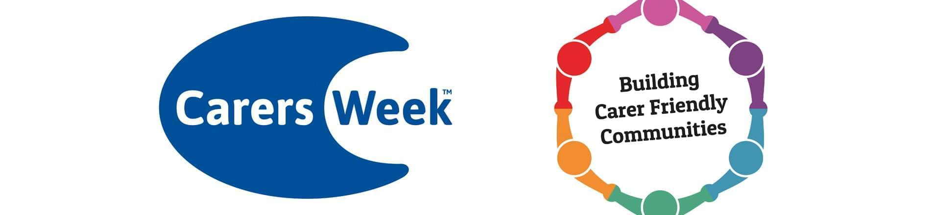 Carers Week logo with Building Carer Friendly Communities  logo