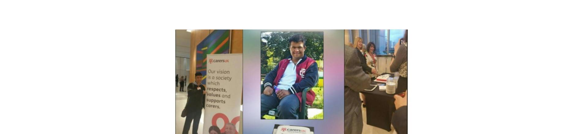 Three images, the far left image is a man standing next to a Carers UK sign, the middle image is a man sitting on a chair and the far right image is a group of people speaking to each other in a room.