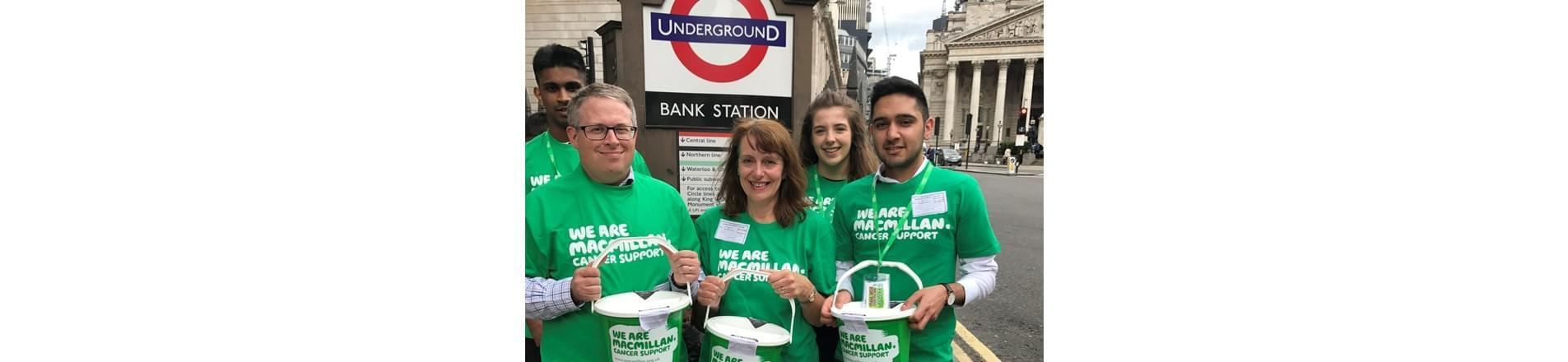 Volunteers from Bank of England collecting money for MacMillan Cancer