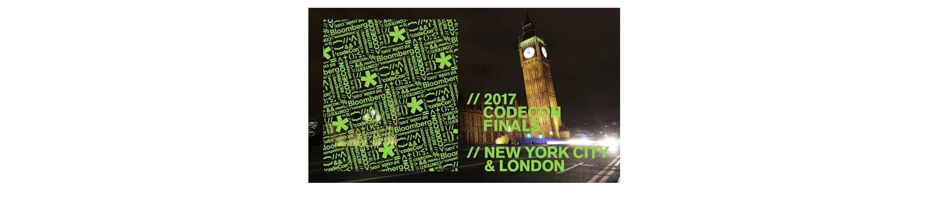 the Big Ben in London with the text '2017 CodeCon Finals - New York City and London' over the top of the image