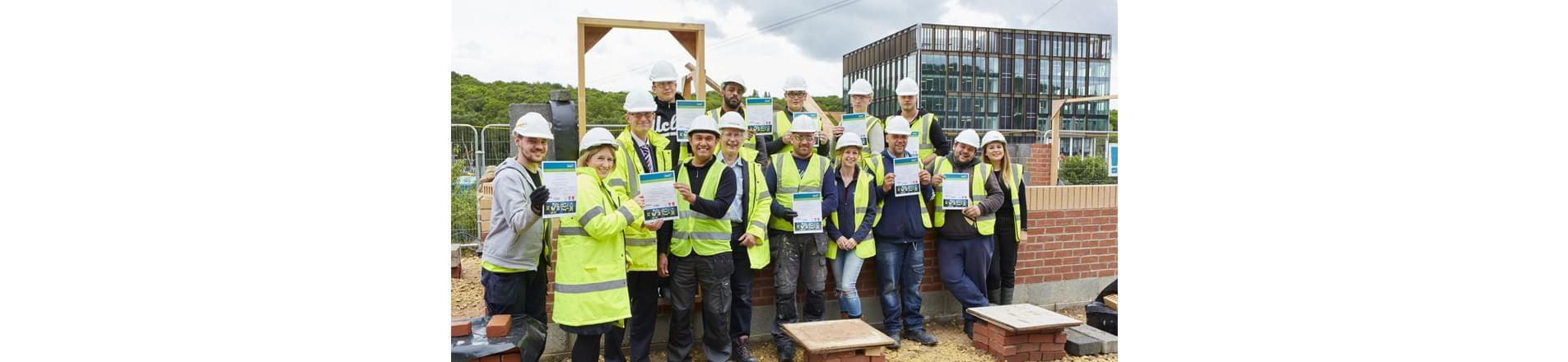 Wates Kirkstall Forge Trainees Hoding Certificates