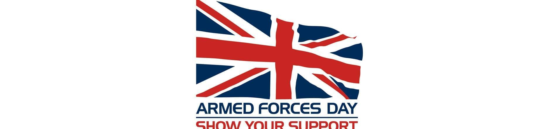 United Kingdom flag with words Armed Forces Day: Show Your Support
