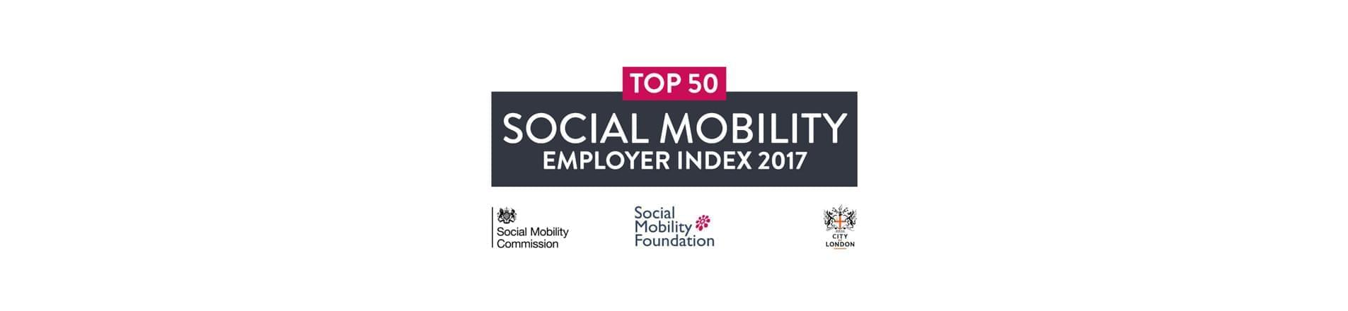 Social Mobility Employer Index 2017 Top 50 logo with Social Mobility Foundation, Social Mobility Commission and City of London logos