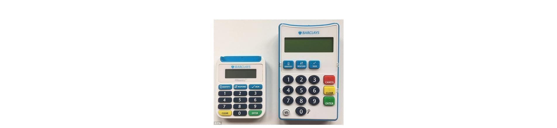 Barclays card readers: usual size card reader on the left with new larger version on the right