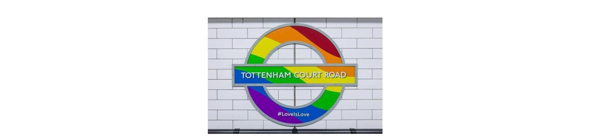 London Underground TfL Tottenham Court Road sign in rainbow colours