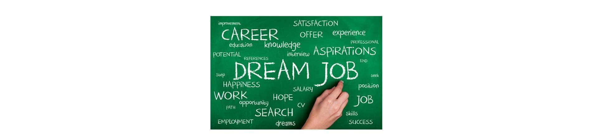 board with the word 'Dream Job' on it and a number of other words associated with job search and careers.
