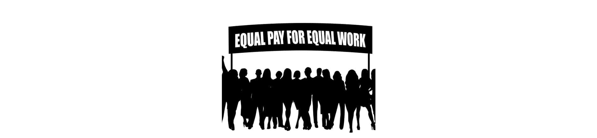 Women's march logo with banner Equal Pay for Equal Work with silhouettes of women and men underneath