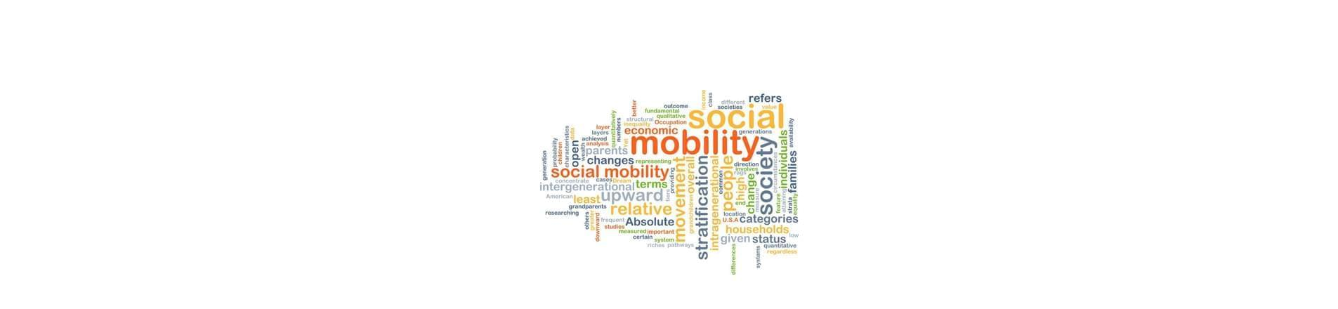 a variety of multi-coloured words associated with Social Mobility