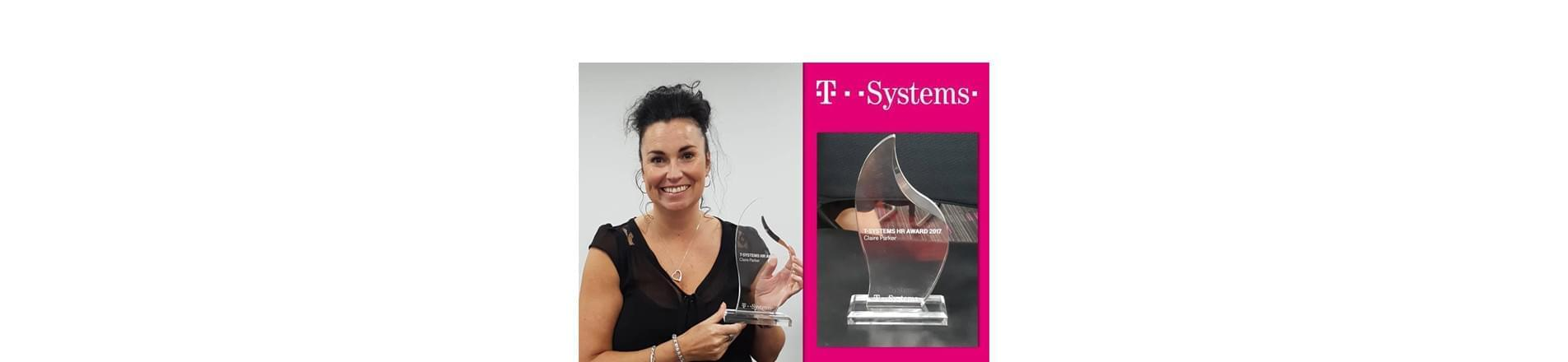 T-System's Claire Parker holding her HR International Award