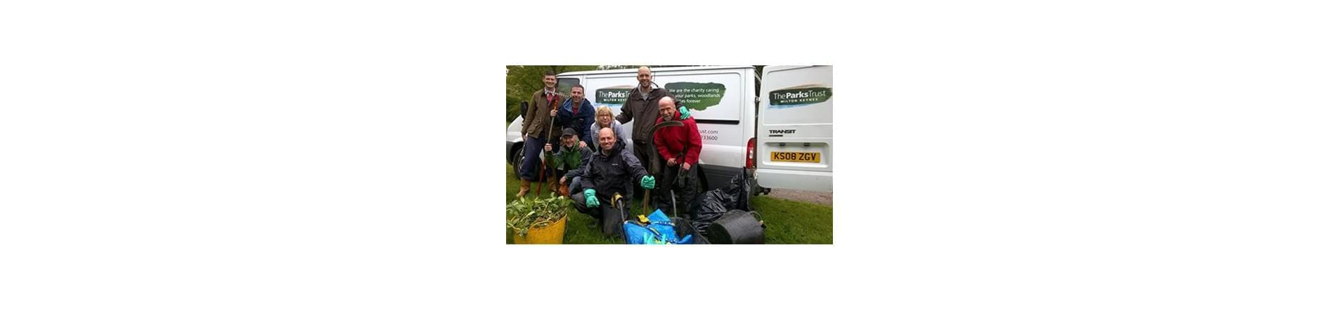 a team of T-Systems employees volunteering at The Parks Trust in Milton Keynes