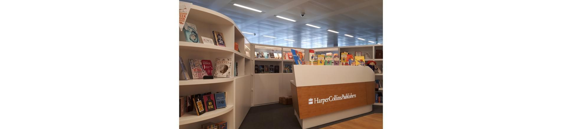 HarperCollins front desk with all of their most recent releases including exclusively diverse books chosen by the diversity forum