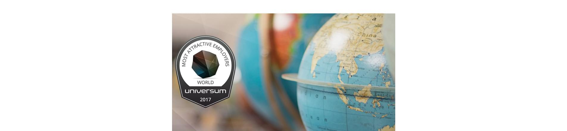 Universum World's Most Attractive Employers 2017 Logo next to a globe of the world.