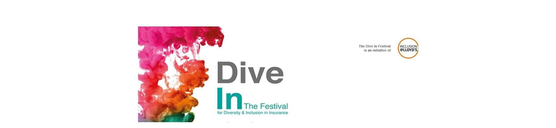 Dive In Festival Logo with the text 'Dive In The Festival for Diversity and Inclusion in Insurance'