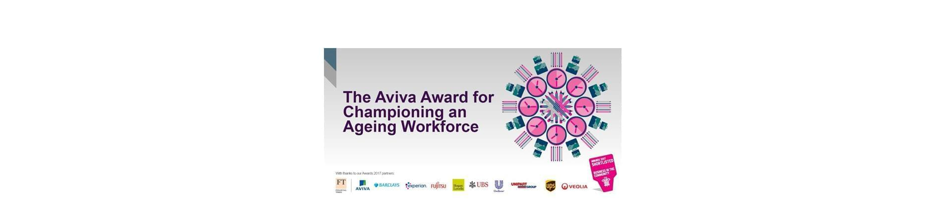 a design made from various items of stationary and the text 'The Aviva Award for Championing an Ageing Workforce'. The Awards 2017 partners are at the bottom of the page, with the Business in the Community Logo.