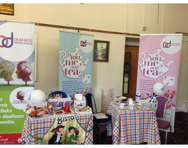 You, Me and Tea set up for dementia and talking about mental health.