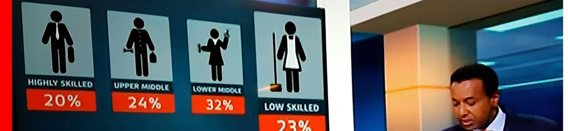 A picture depicting men in highly skilled jobs and women in lower skilled jobs