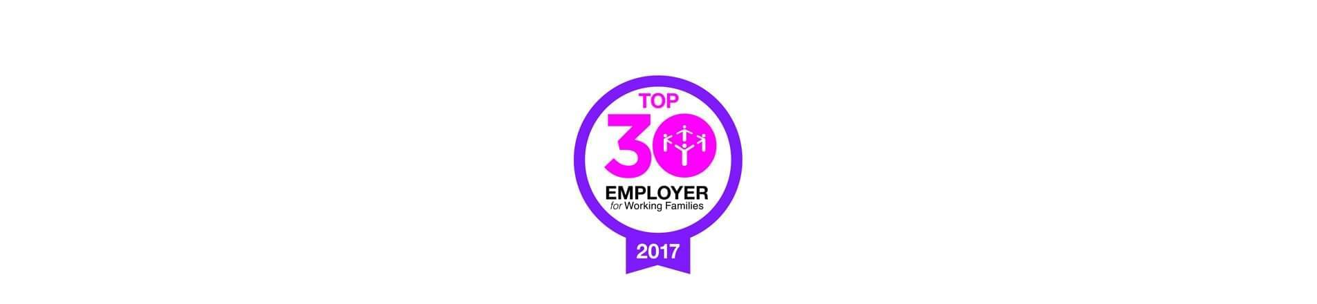 Working families logo . Top 30 employer for working  Families 2017