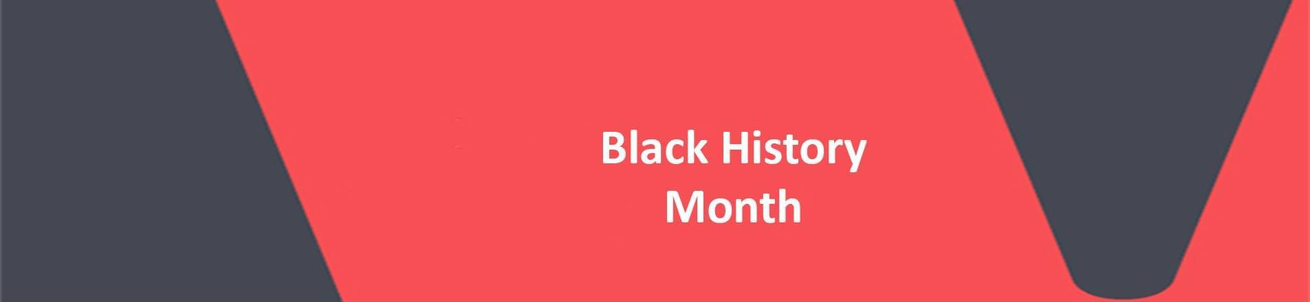 The words Black History Month on a red VERCIDA branded background