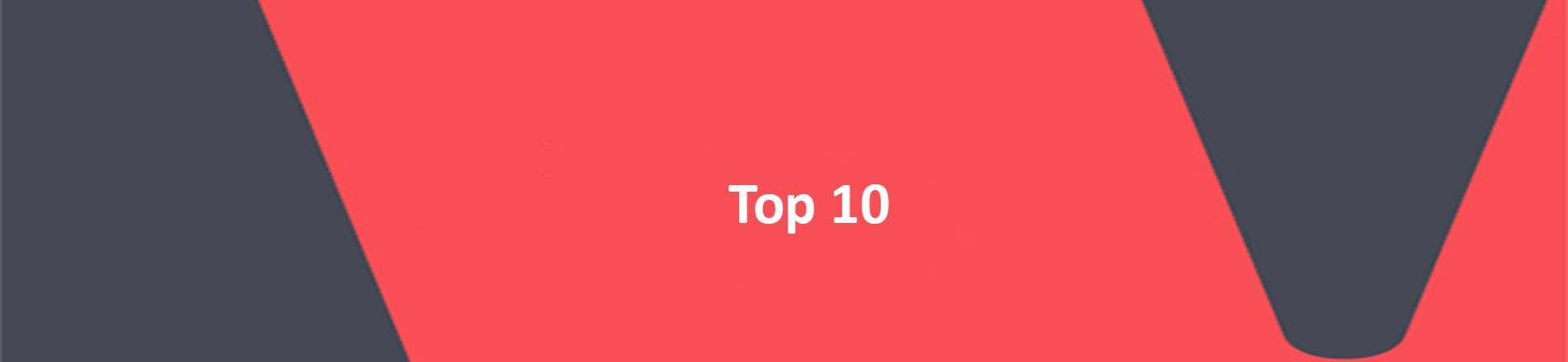 The word and number top 10 in white on a red VERCIDA branded background