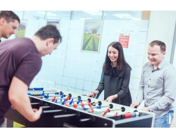 CA Technologies staff  playing a table hockey
