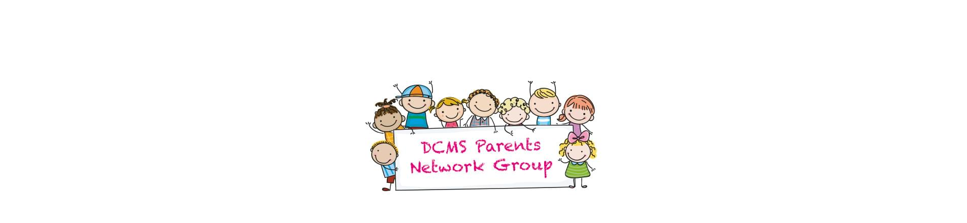 An icons of kids holding a sign DCMS Parents Network Group