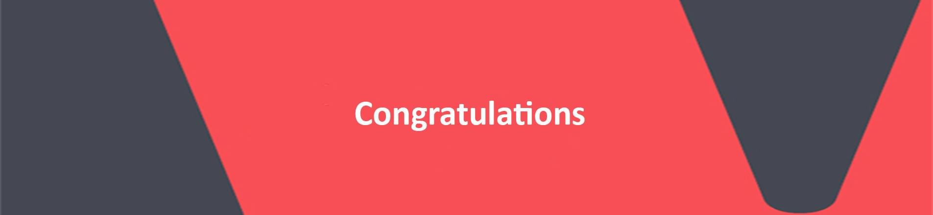 The word Congratulations in white on a red VERCIDA branded background