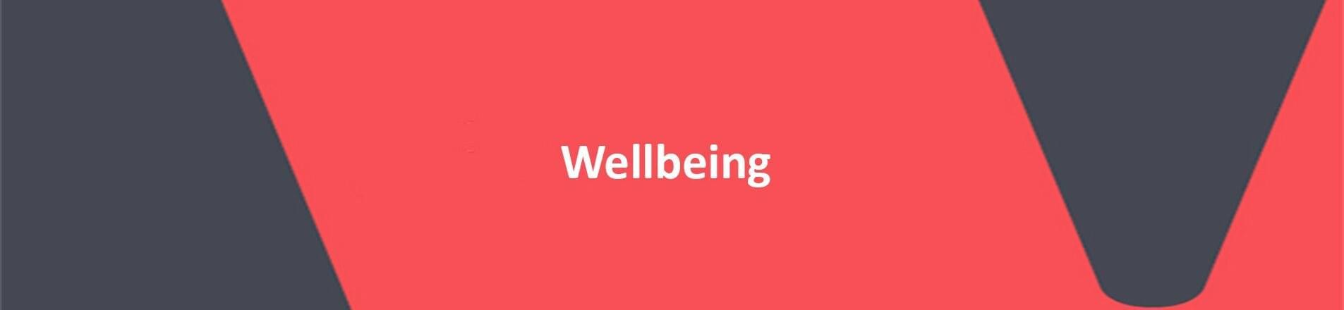 Wellbeing on red VERCIDA background