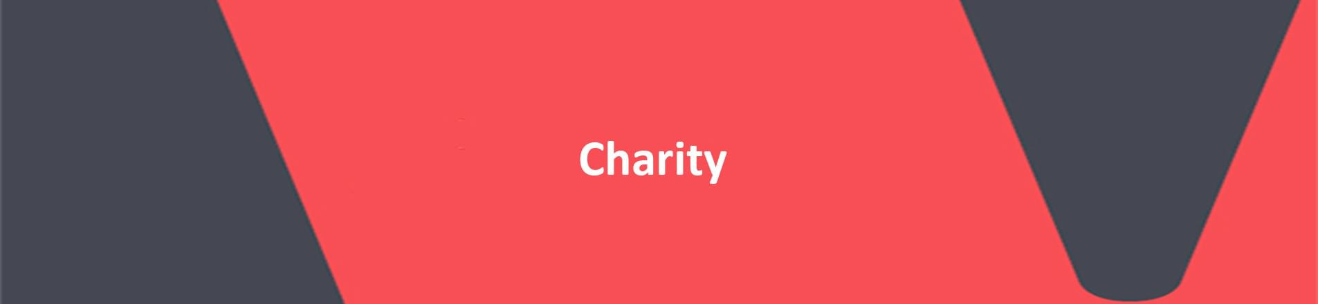 The word Charity on red Vercida branded background