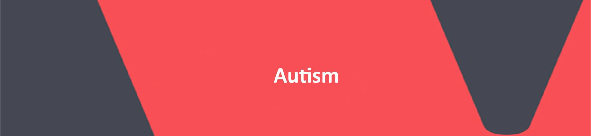 The word autism on red VERCIDA branded background